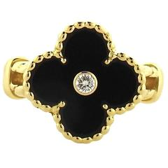 Van Cleef & Arpels VCA Vintage Alhambra Gold Diamond Onyx Clover Ring