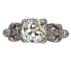 GIA Edwardian 1.60 Carat Old Miner Cushion Diamond Platinum Engagement Ring