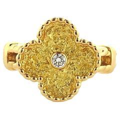 Van Cleef & Arpels Vintage Alhambra Diamond Gold Clover Ring