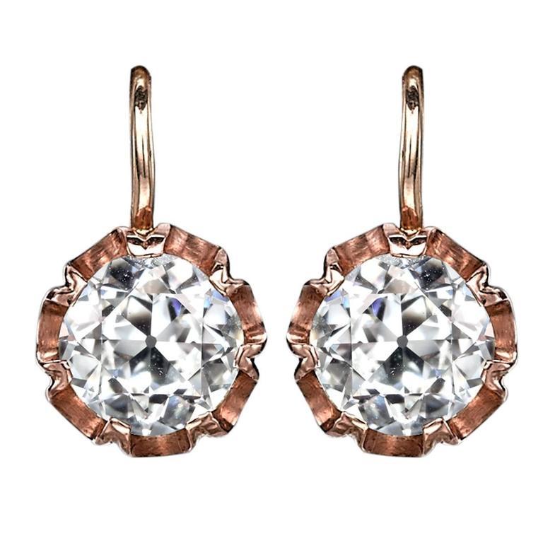 Edwardian Old Cut Diamond Gold Drop Earrings