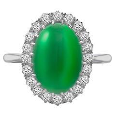Cabochon Jade Diamond Platinum Ring