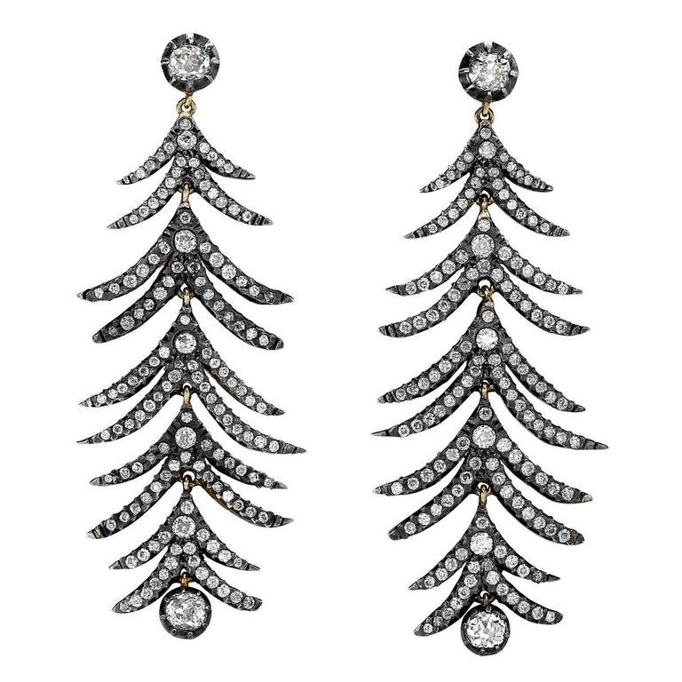 Rose Cut Diamond Silver Gold Drop Earrings