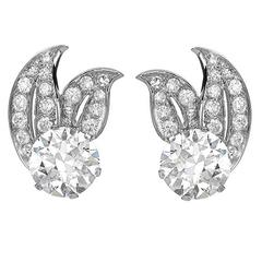 Brilliant Cut Diamond Platinum Leaf Pattern Earrings