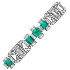 Art Deco Colombian Emerald Diamond Gold Bracelet