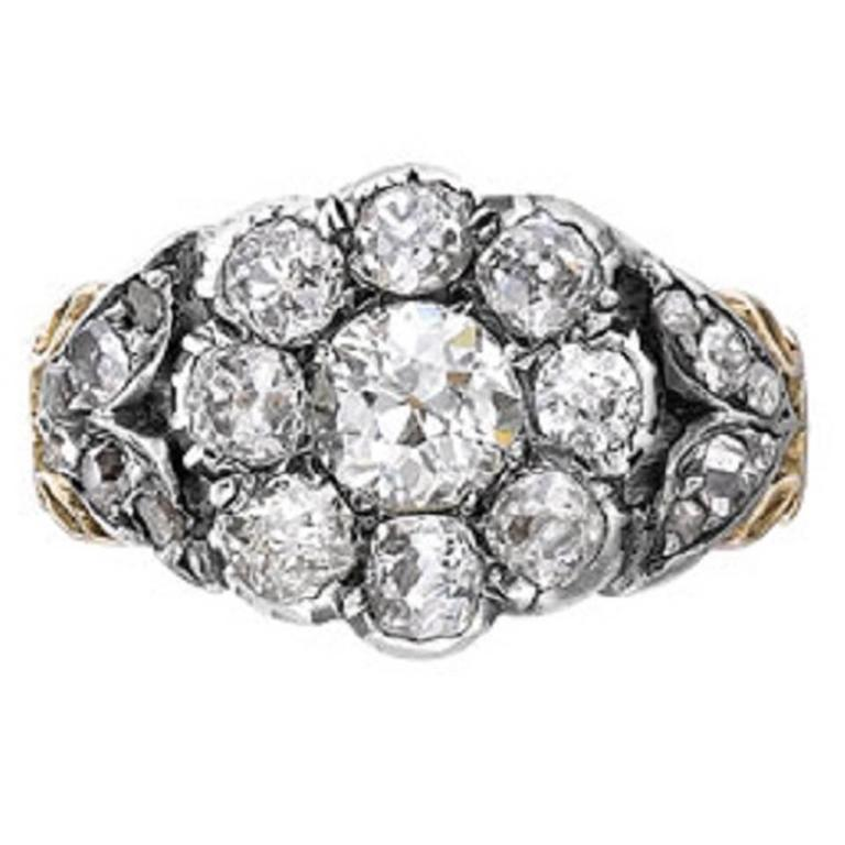 Victorian Old Cut Diamond Silver Gold Cluster Ring