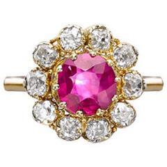 Unheated Burmese Ruby Old Cut Diamond Surround Gold Ring