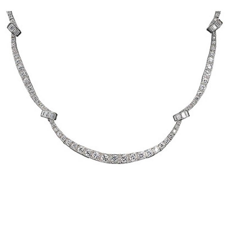 Oscar Heyman Art Deco Baguette and Brilliant Cut Diamond Platinum Necklace