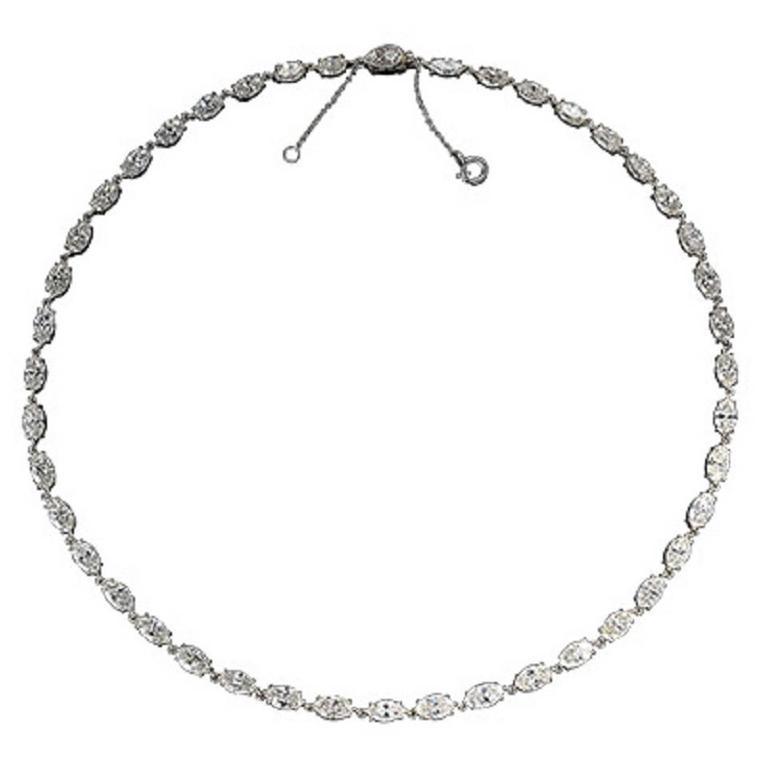 Art Deco Marquise Cut Diamonds Platinum Necklace