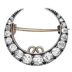 antique Victorian old cut diamond crescent brooch