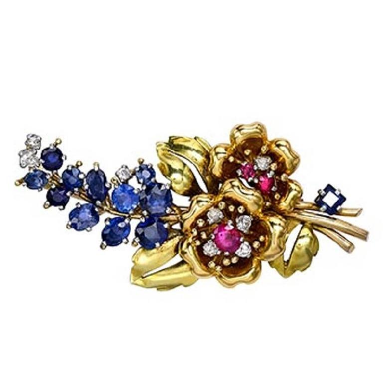 1940s diamond sapphire  ruby gold floral spray brooch  For Sale
