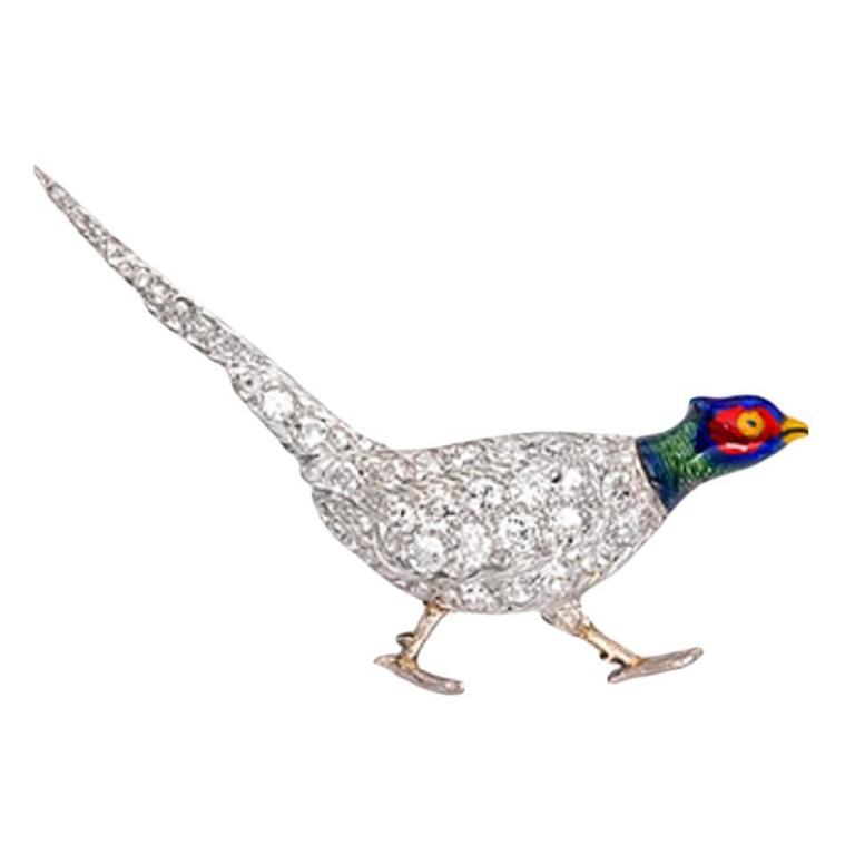 Charming Victorian Enameled Diamond Gold Pheasant Brooch