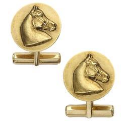 Hermes Gold Horse Cufflinks