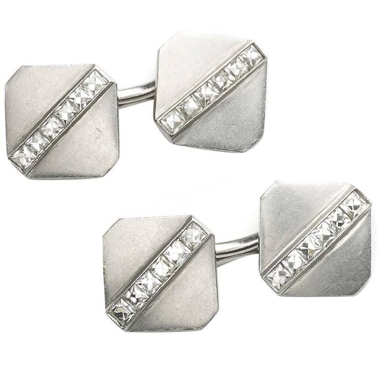 Tiffany Diamond Platinum Cufflinks