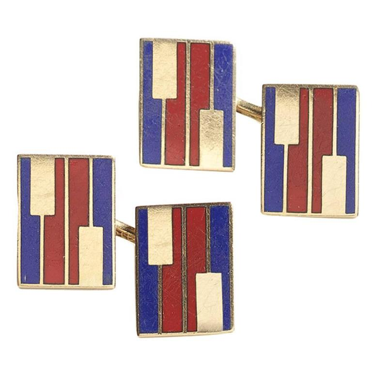 Red and Blue Enamel Gold Cufflinks