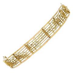 Belle Epoque Donizetti's Opera 'La Favorite' Diamond Gold Musical Notes Bracelet