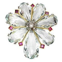 Aquamarine  ruby and diamond brooch