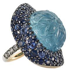 Stunning Hand Carved 30.54 Carat Aquamarine Sapphire Diamond Silver Gold Ring