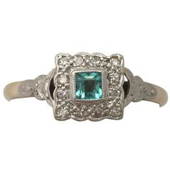 1900s Emerald and Diamond Yellow Gold Cocktail Ring