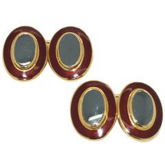 Theo Fennell Enamel Hematite Gold Cufflinks
