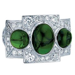 Three-Stone Tsavorite Garnet and Diamond Ring