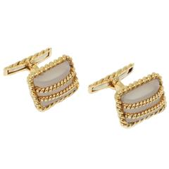 David Webb Rock Crystal Gold Cufflinks
