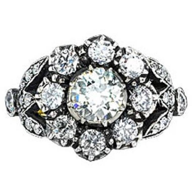 Victorian Old Cut Diamond Gold Cluster Ring