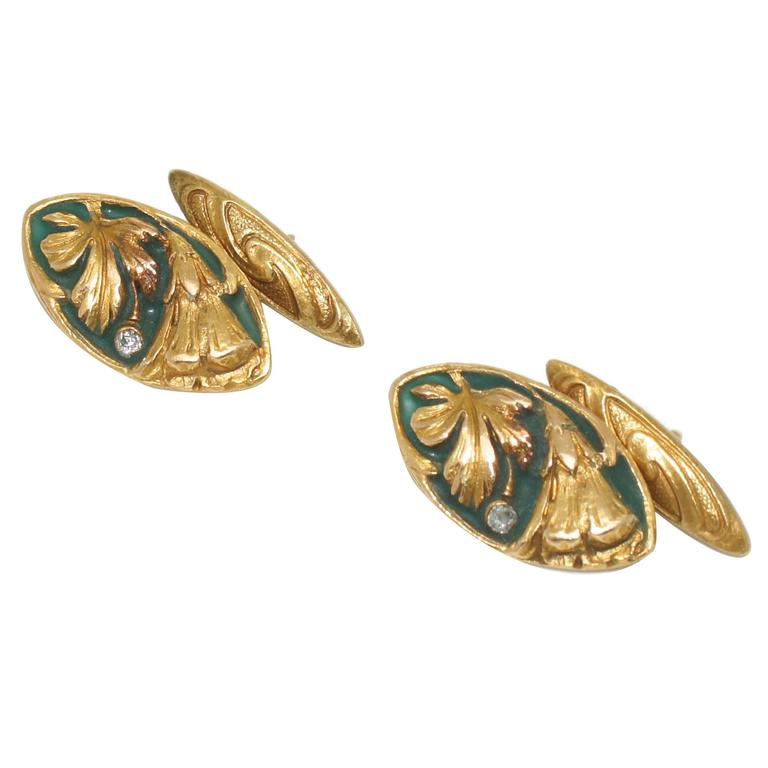 Enamel Diamond Gold Floral Cufflinks