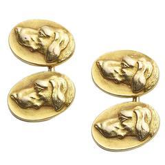 Art Nouveau Gold Dog Cufflinks