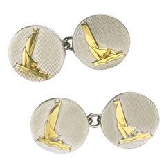 Gold Platinum Boat Cufflinks