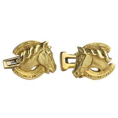 David Webb Gold Horse Cufflinks