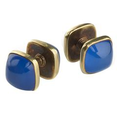 Dyed Blue Agate Gold Cufflinks
