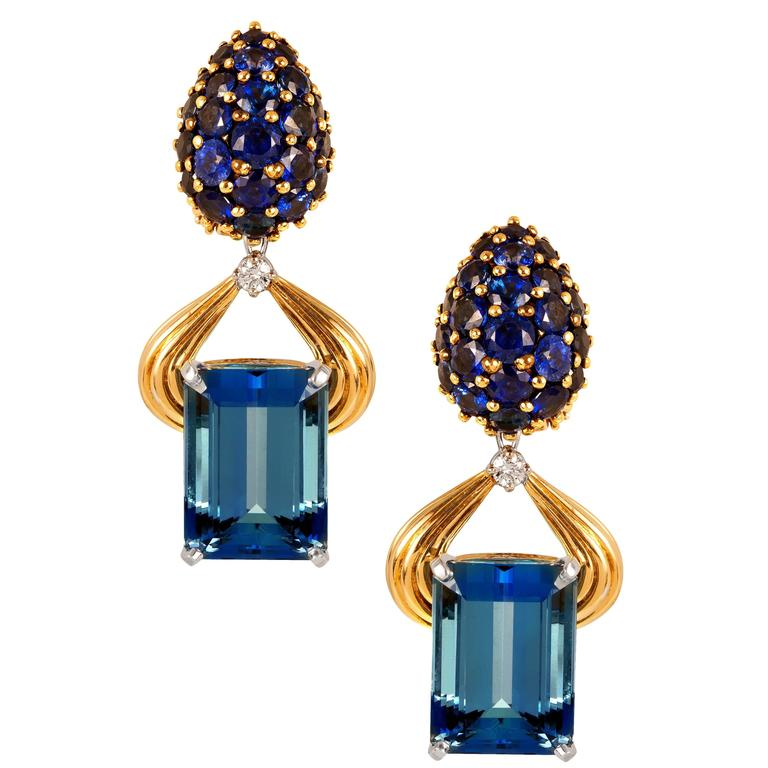 Oscar Heyman Aquamarine Sapphire Diamond Gold Platinum Earrings