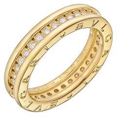 """Bulgari Diamond Gold """"BZero1"""" Band Ring"""