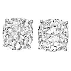 4.55 Carats GIA Cert Old Mine Cut Diamonds Platinum Stud Earrings
