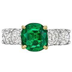 Colombian 1.64 Carat GIA Cert Emerald Diamond Gold Ring