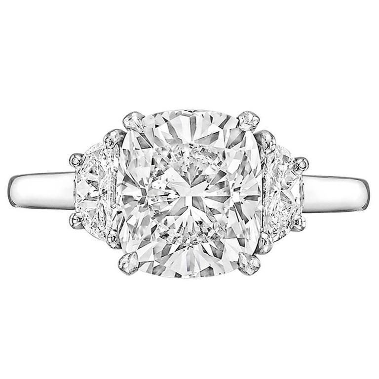 Betteridge 3 02 Carat GIA Cert Cushion Cut Diamond Platinum Engagement Ring a