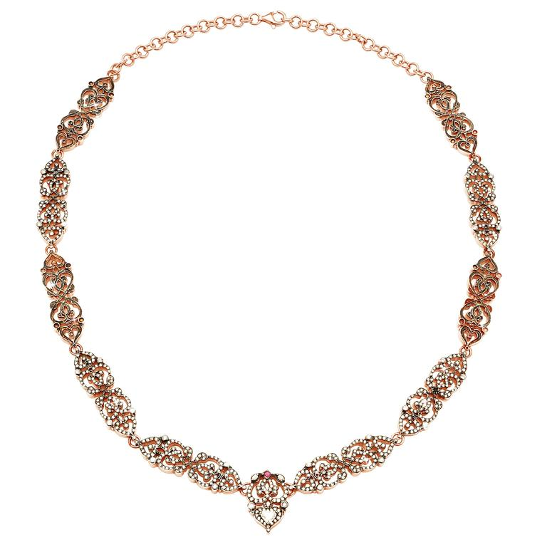 Sabine Getty Ruby Diamond Gold-Plated Silver Necklace/Headpiece 1