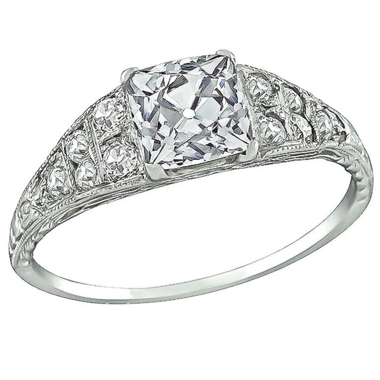 1.30 Carat GIA Certified Square Brilliant Cut Diamond Platinum Engagement Ring