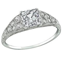 1.30 Carat GIA Cert Square Brilliant Cut Diamond Platinum Engagement Ring