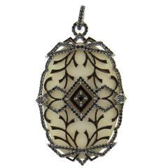 Ivanka Trump White Hard Stone Black Diamond Gold Pendant