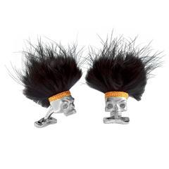 Deakin & Francis Sterling Skull Black Hair Cufflinks