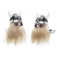 Deakin & Francis Hairy Viking Skull Sterling Black Spinel Helmet Ruby Cufflinks