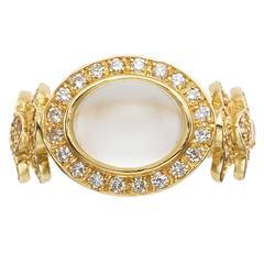 Sabine Getty Moonstone Pink Topaz Diamond Gold Philippi Ring