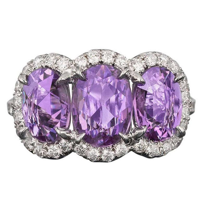 Untreated Purple Sapphire Diamond Platinum Ring
