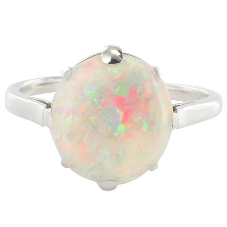French Art Deco Opal Platinum Ring 1