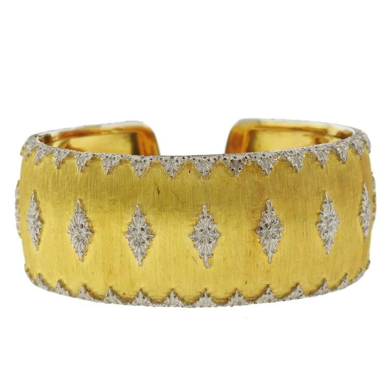 Impressive Buccellati Two Color Gold Wide Cuff Bracelet