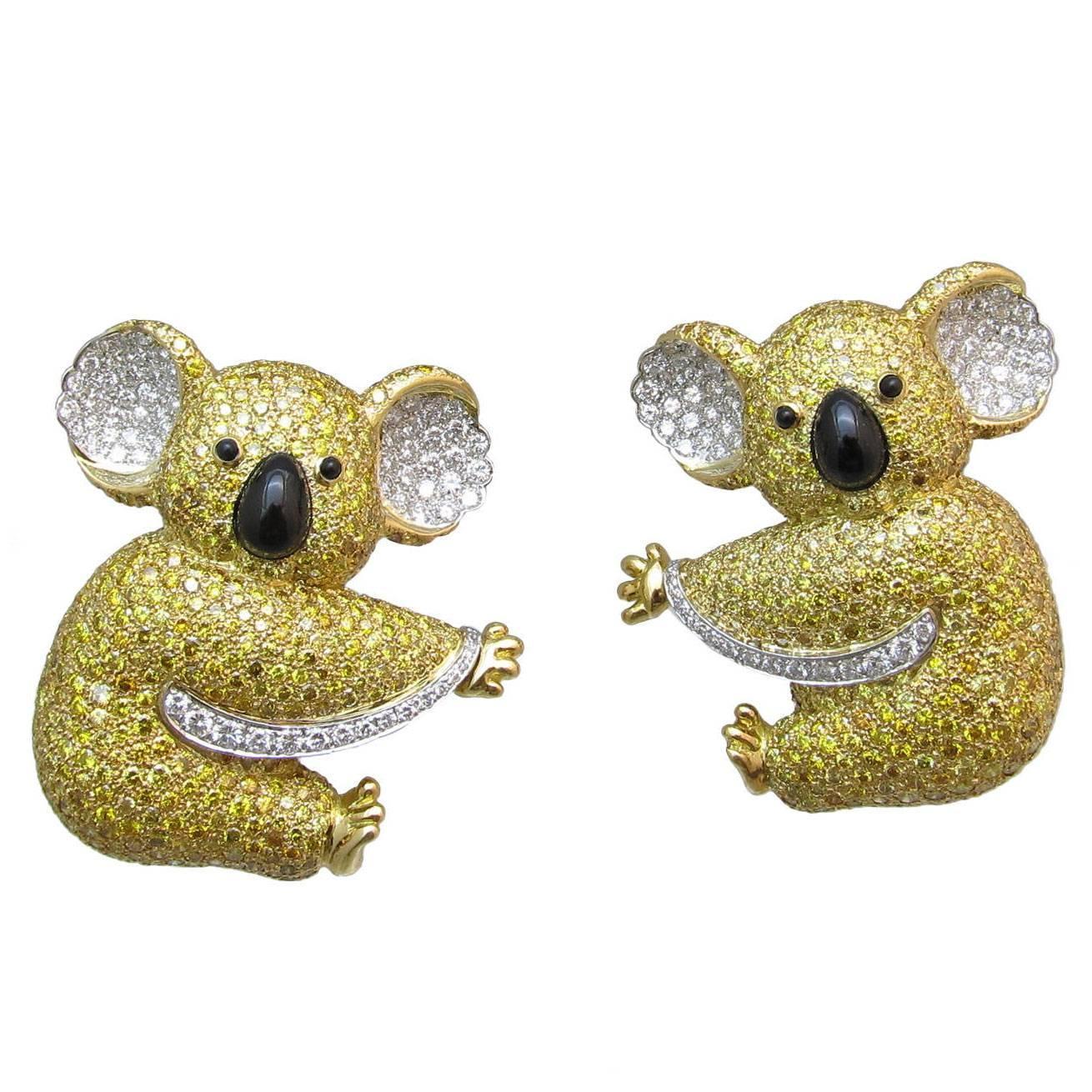 graff yellow two koala detachable brooch for