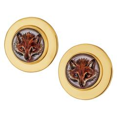 Rock Crystal Gold Painted Fox Head Clip Earrings