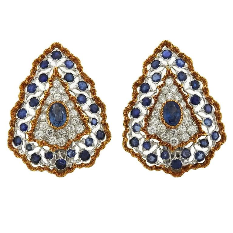 Buccellati Sapphire Diamond Gold Large Earrings