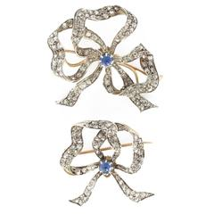 Pair of Antique Sapphire Diamond Brooches